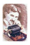 Nikola Tesla with Machine Wydruk giclee