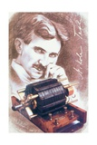 Nikola Tesla with Machine - Giclee Baskı