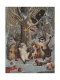 Woodland Animals Dancing in Snow Giclee Print