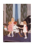Three Little Girls Standing at a Piano While a Fourth Plays Giclee Print