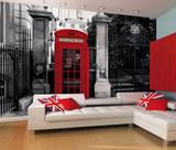 Englische Telefonzelle rot in Schwarz-Weiss Fototapete Wandgemälde
