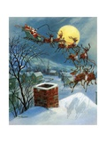 Vintage Illustration of Santa Claus and His Sleigh Stampa giclée