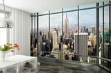 Silueta de Nueva York por una ventana - Mural de papel pintado Mural de papel pintado
