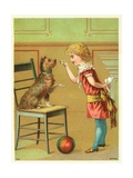 Trade Card of a Girl Training a Terrier Dog Giclee Print