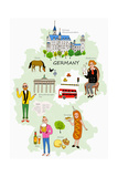 Various People and Landmarks in Germany Giclee Print