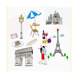 An Illustration of Tourist Attractions in France Giclee Print
