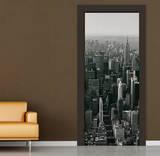New York Door Manhattan Schwarz Weiss Fototapete Türposter Wandgemälde