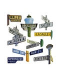 Signs of Famous Streets in Banking and Commerce Giclee Print