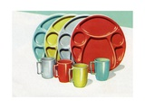 Set of Vintage 1950s Picnic Plates Giclee Print
