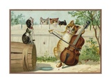 Trade Card of a Cat Playing a Cello with a Howling Dog Giclee Print
