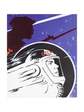 Zooming Soviet Cosmonaut Alongside a Revolutionary Soldier Giclee Print