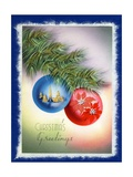 Vintage Illustration of Two Christmas Tree Ornaments Giclee Print