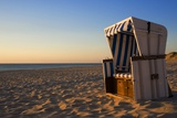 Empty Beach Chair on Weststrand Beach in Evening Photographic Print by Wolfgang Kaehler