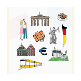 An Illustration of Tourist Attractions in Germany Giclee Print