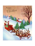Vintage Illustration of Santa Claus and His Sleigh Giclee Print