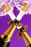 Corks Flying Out of Two Champagne Bottles Photographic Print