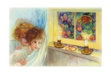 Postcard of Two Children Watching Goblins and a Witch Giclee Print