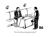 """You still working on charging that phone?"" - New Yorker Cartoon Premium Giclee Print by Drew Dernavich"