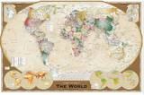 World Map Tripel Reproduction sur toile tendue