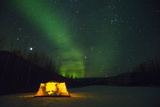 Two Campers Drinking a Bottle of Wine in a Tent under the Northern Lights Photographic Print by Jami Tarris