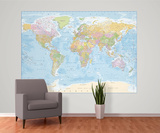 Political World Map Reproduction murale géante Papier peint
