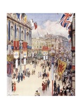 Piccadilly Circus in London Decorated for the Coronation of King George VI in 1937 Giclee Print