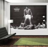 Muhammad Ali im Ring Schwarz Weiss Fototapete Wandgemälde Fototapeten