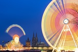 Ferris Wheel Lights at Fair in Cologne at Night Photographic Print by Frank Lukasseck