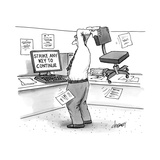 A man in an office cubicle holds a chair behind his head, about to slam it… - New Yorker Cartoon Premium Giclee Print by Tom Cheney
