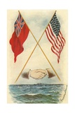 Postcard of Handshake and Flags across the Ocean Giclee Print