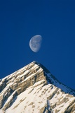 Europe, Alps, Wetterstein Mountains, Alpspitze, Moon over Peak Photographic Print by Frank Krahmer
