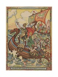 Young Viking Rescuing Princess Giclee Print