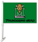 NCAA Marshall Thundering Herd Car Flag with Wall Brackett Flag