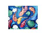 Koi Fish Dreams Yellow Print by  Susybee