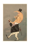 Postcard of the Cresent Moon as the Face of a Man Giclee Print