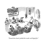 """""""Casual dress hasn't yielded the results we'd hoped for."""" - New Yorker Cartoon Premium Giclee Print by Frank Cotham"""