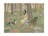 Book Illustration of Pocahontas Waiting in Woods Giclee Print by E. Boyd Smith