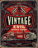 Vintage Evil - Hell Bent Rods Tin Sign Tin Sign