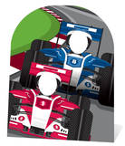 Racing Cars Stand In - Child-sized Cardboard Cutouts
