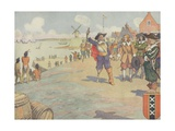 Book Illustration of Dutch Settlers Arriving in New York Giclee Print by E. Boyd Smith