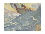 Book Illustration of Vikings at Sea Giclee Print by E. Boyd Smith