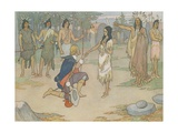 Book Illustration of John Smith Kneeling before Pocahontas Giclee Print by E. Boyd Smith