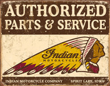 Authorized Indian Parts and Service Tin Sign Tin Sign