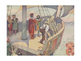 Book Illustration of Columbus Discovering America Giclee Print by E. Boyd Smith