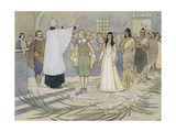 Illustration of the Marriage of Pocahontas and John Rolfe Giclee Print by E. Boyd Smith