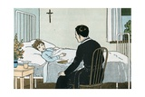 Illustration of a Priest Talking to a Sick Child Giclee Print by L. Kate Deal