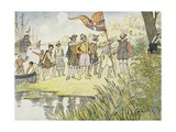 Illustration of Captain John Smith Landing in the New World Giclee Print by E. Boyd Smith