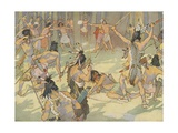 Book Illustration of a Native American Battle Giclee Print by E. Boyd Smith