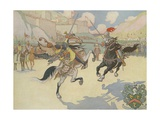 Book Illustration of Captain John Smith Jousting Giclee Print by E. Boyd Smith