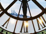 France, Paris, Musee D'Orsay, Giant Ornamental Clock and Basilique Du Sacre Coeur Photographic Print by Shaun Egan